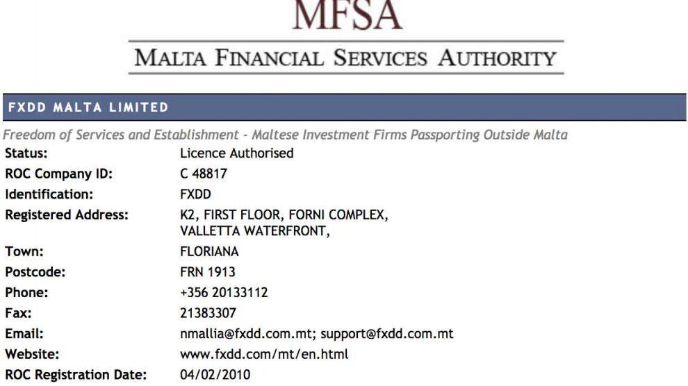 broker fxdd malta resmi teregulasi MFSA